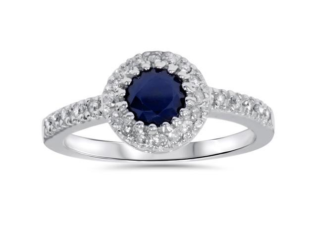 1ct Halo Genuine Blue Sapphire Diamond Engagement Ring 14K White Gold