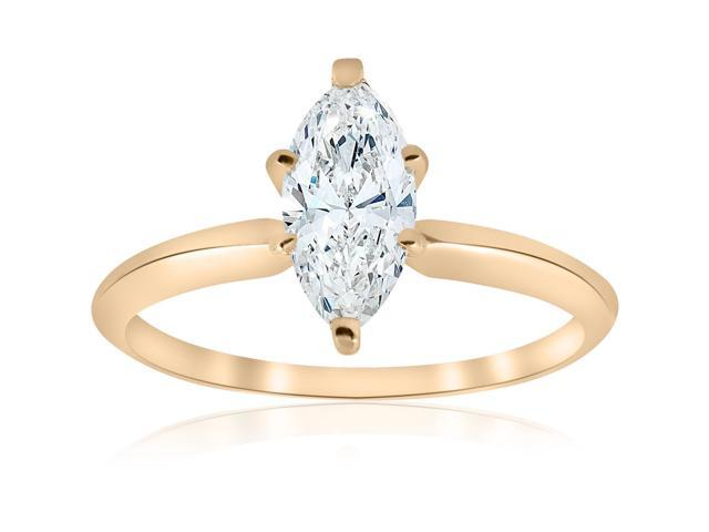 14 kt Yellow Gold 1 ct Marquise Enhanced Diamond Engagement Solitaire Ring