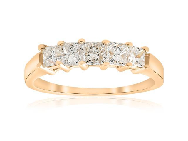 1ct Princess Cut Diamond Anniversary 14K Yellow Gold Ring Womens Wedding Band