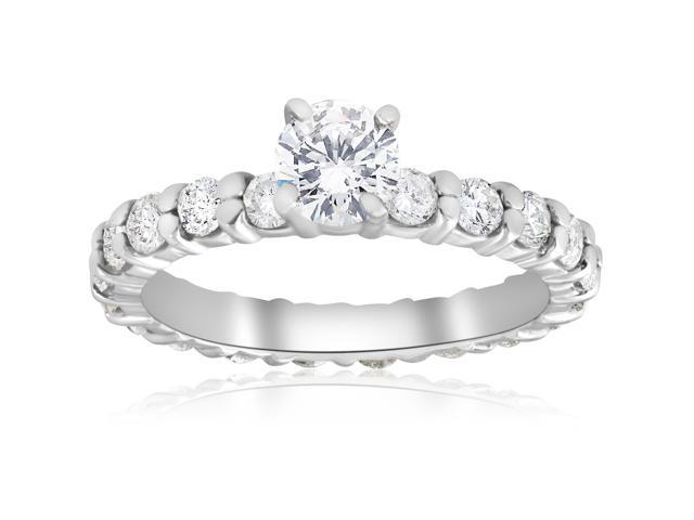 2 cttw Diamond Eternity Engagement Ring Solitaire Brilliant Cut 14k White Gold