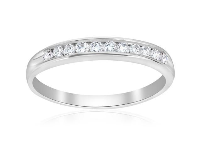 1/4ct Diamond 14k White Gold Wedding Stackable Ring Womens Channel Set Band