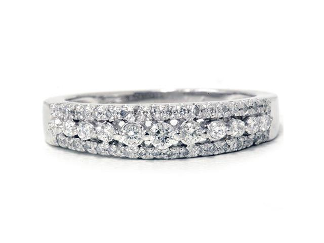 1/4ct Diamond Anniversary Wedding Ring 10K White Gold Womens Pave Wedding Band