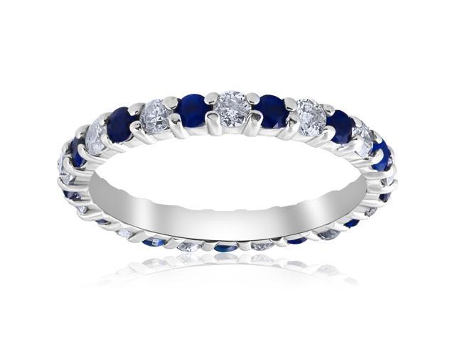 1 1/2ct Sapphire & Diamond Eternity Womens Wedding Ring 14K White Gold Stackable
