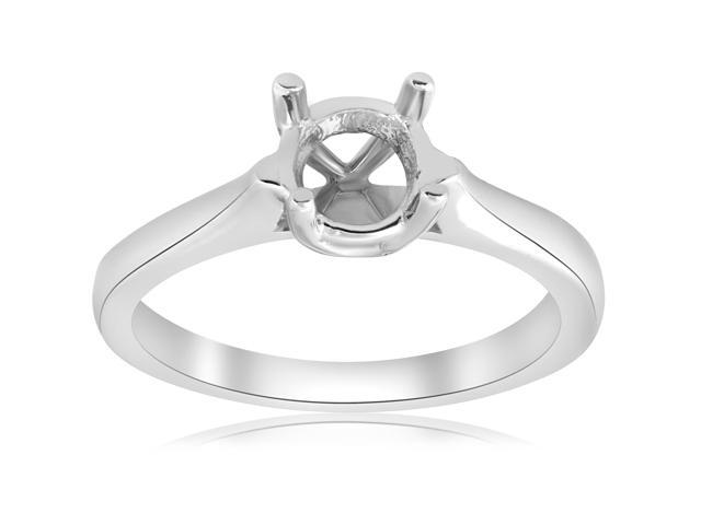 Cathedral Solitaire Mount Engagement Ring Round Setting 14K White Gold Mounting
