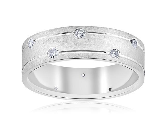 Mens 14k White Gold Genuine Diamond Comfort Fit Wedding Ring 6MM Brushed Band