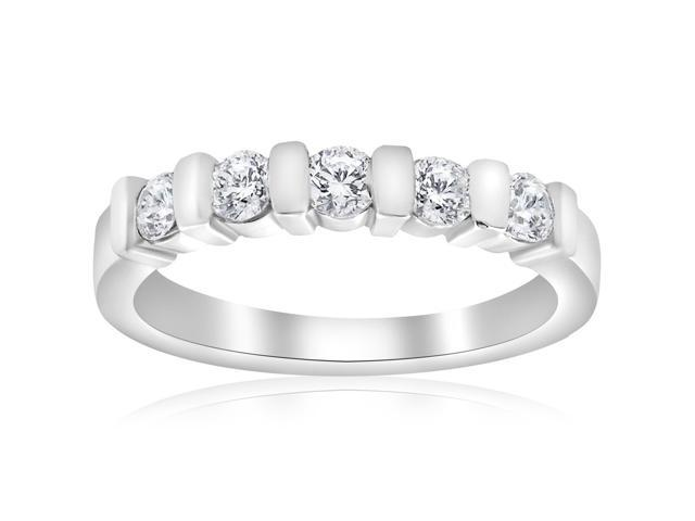 1/2ct 5-Stone Diamond Wedding White Gold Bridal Ring Womens Wedding Band 14k
