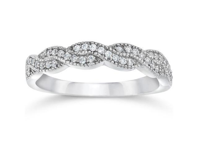 1/8ct Pave Diamond Infinity Vintage Wedding Anniversary Ring 14K White Gold