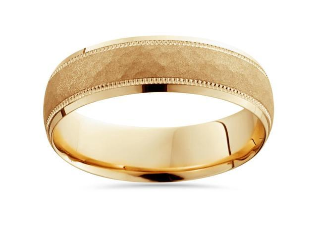 Hammered Wedding Band 14K Yellow Gold