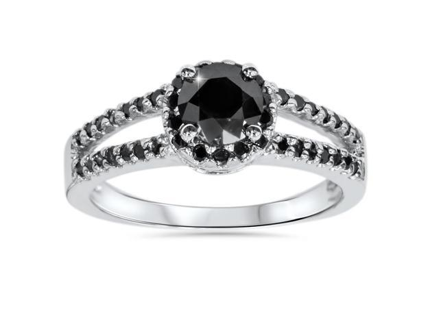 1 5/8ct Treated Black Diamond Pave Halo Engagement Ring 14K White Gold