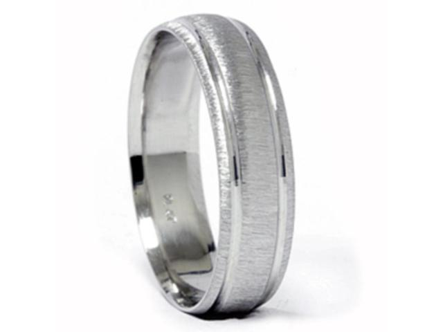Mens 14K White Gold Comfort Fit Brushed Wedding Band