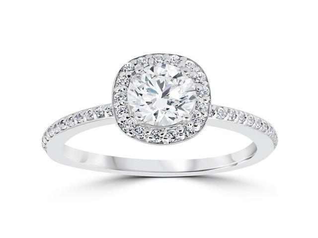 1ct Diamond Engagement Ring Cushion Halo Vintage Solitaire 14K White Gold