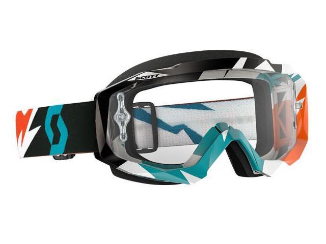 Scott USA Hustle Cracked 2016 MX/Offroad Goggles Orange/Turquoise/Clear Works Lens