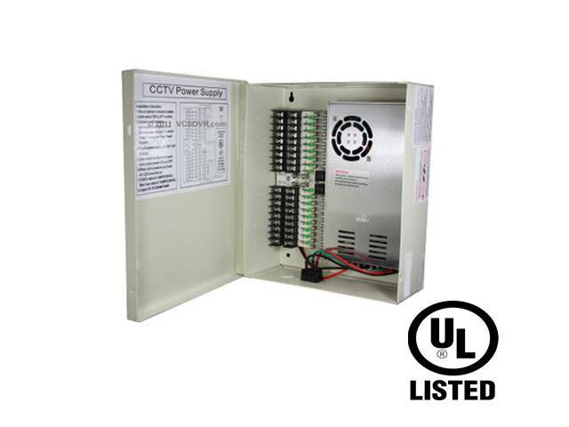 CCTV Power Supply Distribution Box - 12V DC 18 channels High Output 29 Amps UL Listed