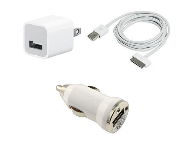 Car Charger Data Cable Home Wall Charger iPhone 3GS 4S 4 2G 3G 3pcs Set