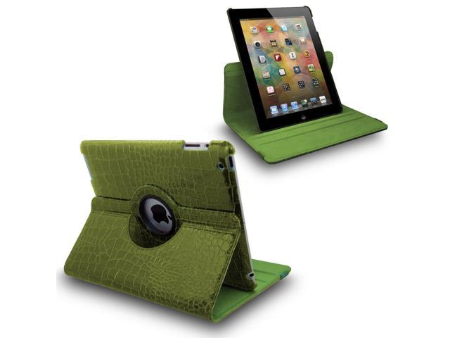 Green Crocodile 360¡ãSwivel Smart Leather Case for iPad 2 3 the New iPad 4 4th