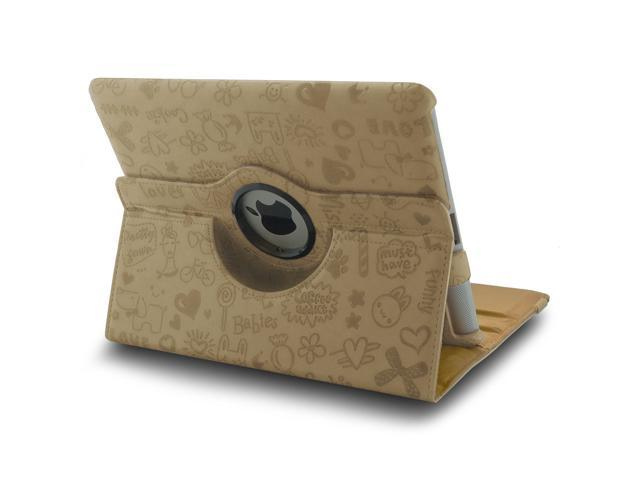 360 Rotating Magnetic Leather Case Smart Cover Swivel Stand for iPad 2 3 Vanilla