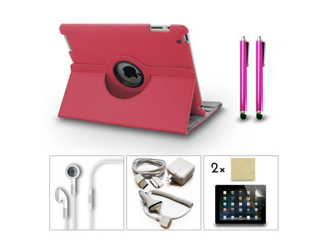 Bundle 9in1 Accessories Set for iPad 3 2 Case + Charger + Earphone + Screen Film + Stylus Pen Hot Pink Color