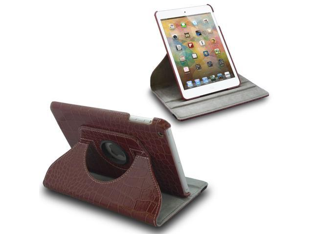For Apple iPad Mini Croc 360° Rotating PU Leather Case Cover Swivel Stand Brown
