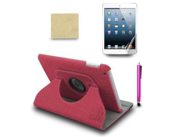 For Apple iPad Mini Croc 360° PU Leather Case Cover +Stylus Pen +Film Hot Pink