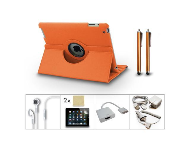 Bundle 10in1 Accessory for iPad 3 2 Case Charger Film Earphone HDMI Dock Orange