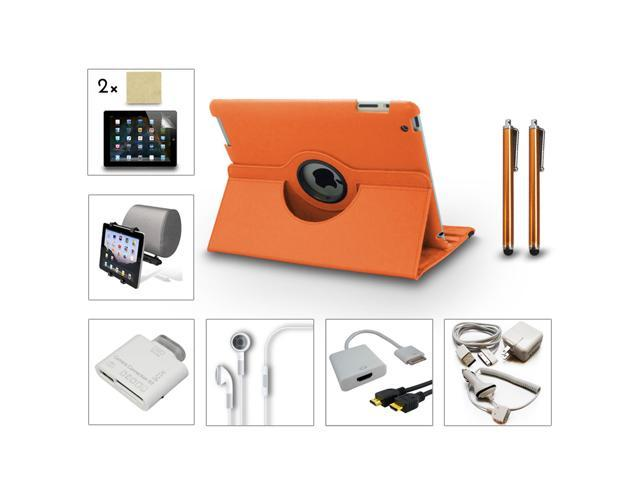 Bundle 13in1 Accessory for iPad 3 2 Case Charger Film Card Reader HDMI Orange