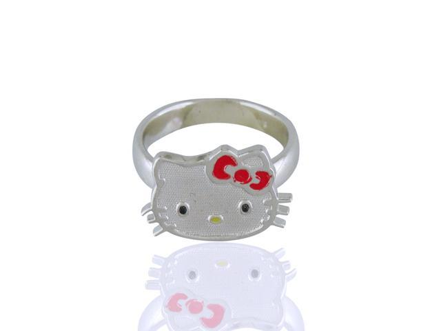 Hello Kitty Sterling Silver Sanrio Face W/Bow Ring Size 4