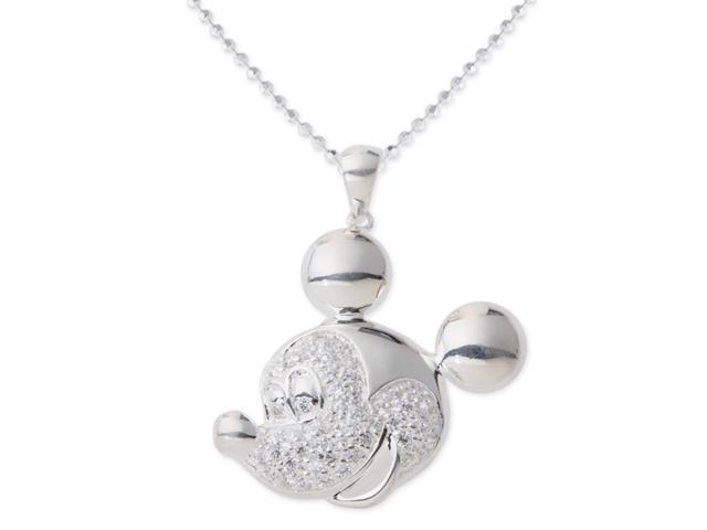 Mickey Mouse Disney Silver Plated Large Cz Necklace
