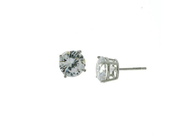 Round Cz 9MM Stud Earrings Sterling Silver