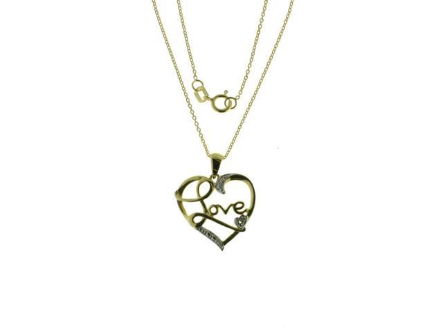 Love Heart Diamond Accent Pendant Sterling Silver Yellow Plated Two Tone