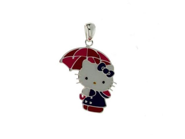 Hello Kitty Silver Tone Enameled Umbrella Pendant