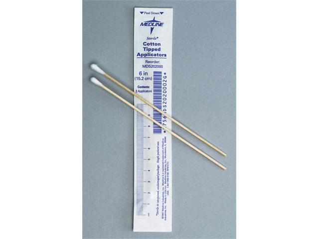 Medline MDS202000Z Sterile Cotton Tipped Applicators Case Of 200 EA