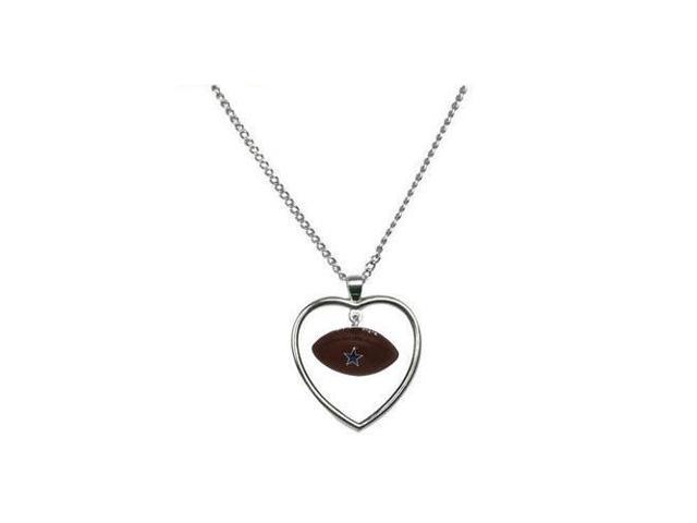 Dallas Cowboys Mini Football Heart Necklace