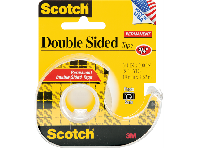 3M MMM237 Doubte-Sided Tape- Permanent- .75in.x300in.- Transparent