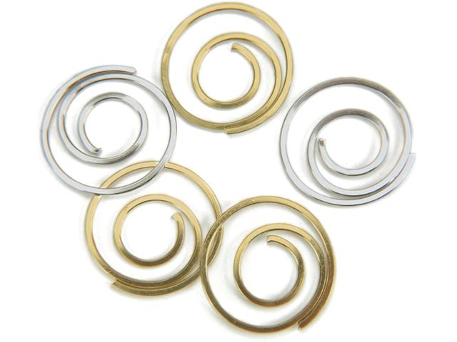 Metal Spiral Clips 25/Pkg-Gold & Silver