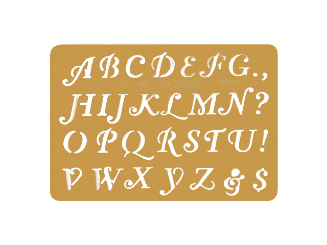 "Brass Embossing Stencil 3.25""X2.25""-Letters"