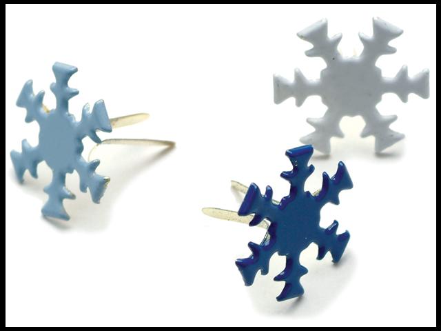 Painted Metal Paper Fasteners 50/Pkg-Winter - Snowflakes
