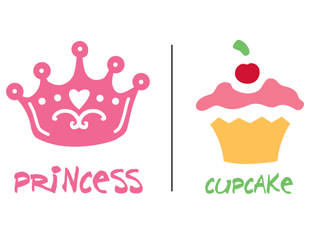 Uptown Baby Color Transfer Iron-Ons 2/Pkg-Cupcake & Princess