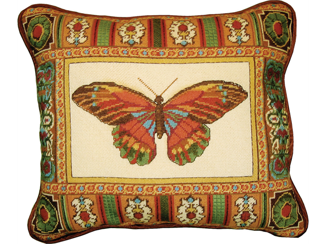 Butterfly With Mosaic Border Needlepoint Kit-14