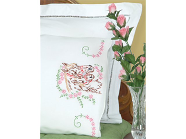Stamped Pillowcases With White Perle Edge 2/Pkg-Mare & Colt