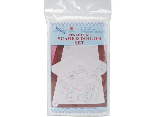 Stamped Dresser Scarf & Doilies Perle Edge 3/Pkg-Starburst Of Hearts