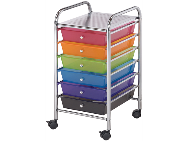 Alvin SC62MC 6 Small Drawing Multicolor Storage Cart