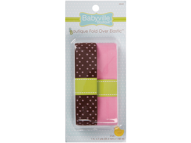 Babyville Boutique Fold Over Elastic -Brown W/Dots & Solid Pink