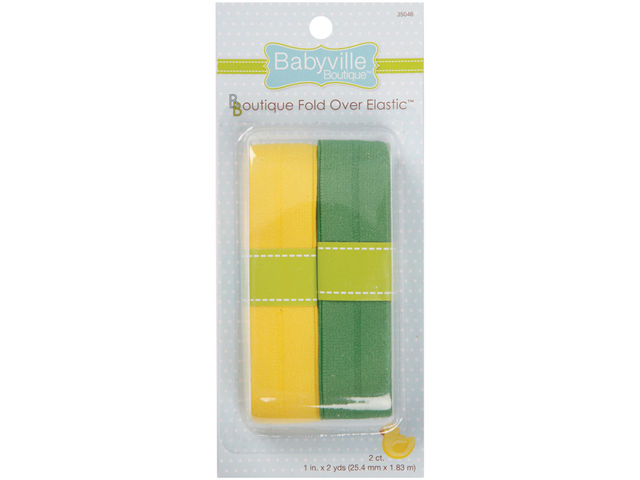 Babyville Boutique Fold Over Elastic -Solid Yellow & Solid Green