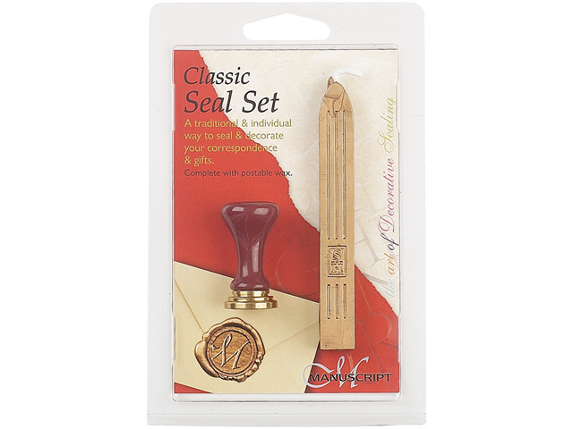 Classic Ceramic Initial Seal & Red Traditional Wax Set-A
