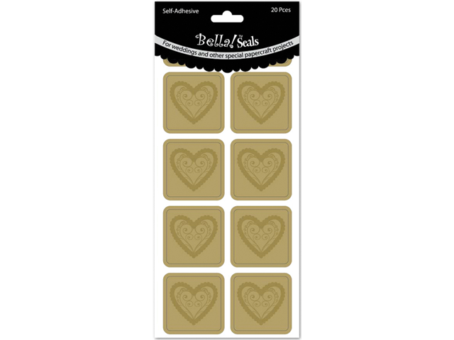 Wedding Foiled Seals 20/Pkg-Hearts/Gold