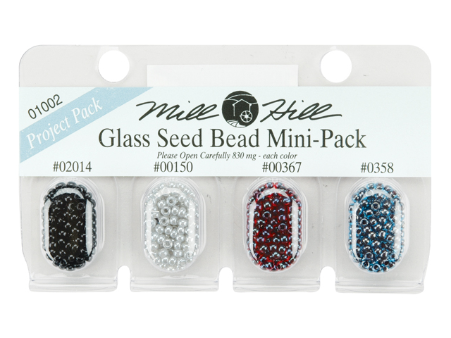 Mill Hill Glass Seed Beads Mini Packs 830mg 4/Pkg-02014, 00150, 00367, 00358