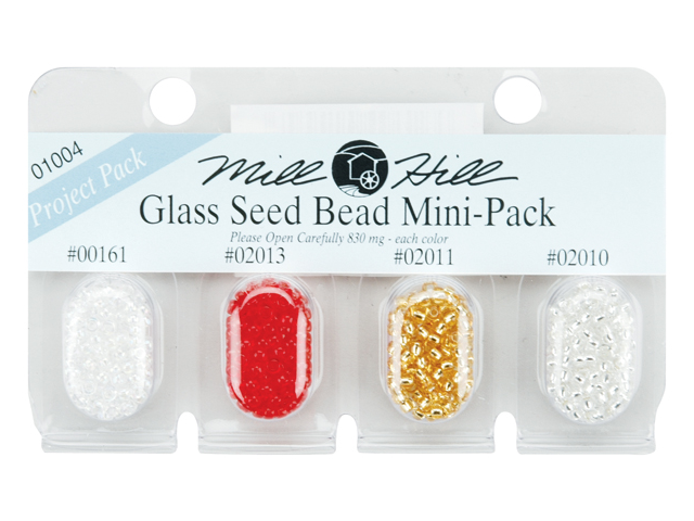 Mill Hill Glass Seed Beads Mini Packs 830mg 4/Pkg-00161, 02013, 02011, 02010