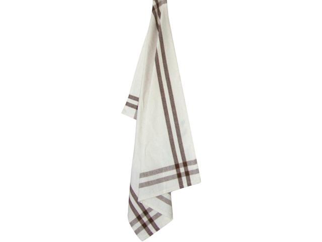 Cream Towel W/Brown & Pumpkin Stripes 20