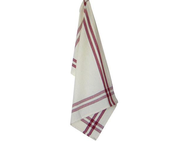 Cream Towel W/Red & Black Stripes 20