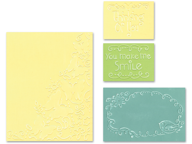Sizzix Textured Impressions Embossing Folders 4/Pkg-Butterfly Migration Set